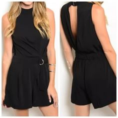 """Mustard Seed Black Open Back Romper Jumpsuit ‼️PRICE FIRM‼️   Mustard Seed Romper Size Small Retail $79  Really fun romper by Mustard Seed. Lightweight & easy to wear!  Perfect for those hot summer days! 100% polyester. Please check my closet for many more items.  Bust 34"""" Waist 27"""" Length of bottom from the waist down 13.5"""" Rise 11"""" Length 32.5"""" Mustard Seed Shorts"""