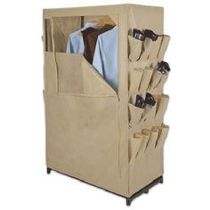 "You may have a need for portable closet storage such as when a guest arrives. Perhaps, a mother-in-law is coming to stay for a few weeks to help with the baby, but there is no available closet space. Whitney Design offers a khaki colored portable wardrobe for $36. This ""portable closet"" measures 36″ x 20″ x 63″. Thus, there is about three feet worth of rack space at over five feet tall. This should be able to store dresses, coats, and skirts without any issue. The shoe storage on the side is…"