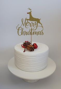 Rudolph the Red Nose Reindeer, Merry Christmas Cake Topper Christmas Cake Designs, Christmas Cake Topper, Christmas Cake Decorations, Cat Cake Topper, Number Cake Toppers, Christmas Balloons, Merry Christmas, Christmas Birthday, Xmas Desserts