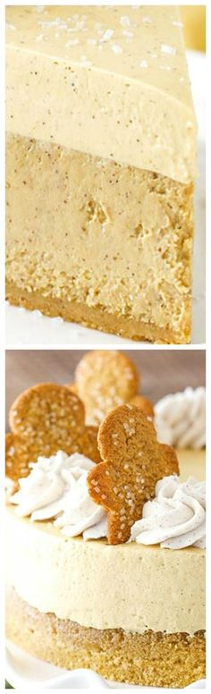 Gingerbread Cheesecake ~ Made with a delicious shortbread crust, gingerbread cheesecake filling and a molasses mousse topping!