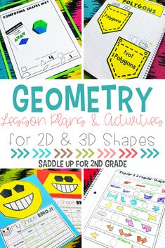 These geometry activities for 2nd grade practice and review 2D and 3D shapes with your elementary students! Click the pin to check out the plans that include a warm up, whole group lesson, independent practice, and small group ideas for you to use in your classroom. #geometryactivities #elementarygeometry