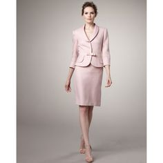 pink Tahari skirted suit with rose gold accessories....