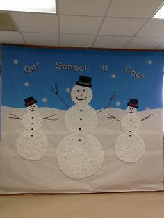 Winter bulletin board/banner: high and wide The back drop was made from… Cafe Bulletin Boards, December Bulletin Boards, Winter Bulletin Boards, Preschool Door Decorations, School Decorations, Christmas Decorations, Class Tree, Winter Fun, Winter Time