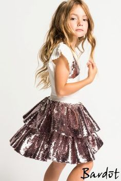 Bardot Junior Sequin Skirt Sparkle and shine in this totally adorable bardot… Cute Girl Outfits, Little Girl Dresses, Dance Outfits, Girls Dresses, Sequin Outfit, Sequin Skirt, Latest Fashion For Women, Kids Fashion, Bardot Junior
