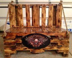 Harley Davidson pallet bench I made