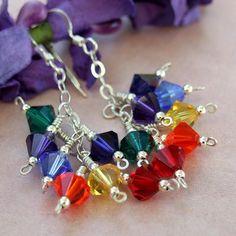 Chakra Rainbow Earrings Swarovski Handmade Beaded Jewelry Cluster Zen   ShadowDogDesigns - Jewelry on ArtFire