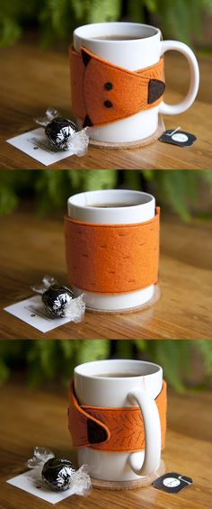 No tutorial but could make any felt shape with magnets inside for mug cozies. Nx