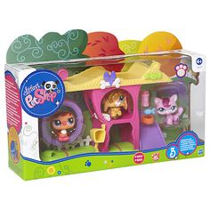 Slide your pets down the slippery slide or push them on the wheel swing with this Littlest Pet Shop playset! Your new sparkle pets will have so much fun with the exciting Mini Playset! Includes: 3 pets with sparkle treatment + accessories! Lps Littlest Pet Shop, Little Pet Shop Toys, Little Pets, Lps Playsets, Toys For Girls, Kids Toys, Lps Sets, Lps Accessories, Baby Doll Nursery
