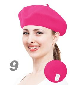 Solid Color French Wool Beret Rasberry Beret like the kind you buy in the Second Hand Store  $1.99