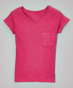 Look what I found on #zulily! Fuchsia Eyelet-Yoke Pocket Tee - Girls by Star Ride Kids #zulilyfinds