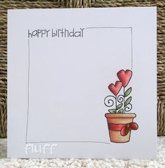 CAS. Love the informal look of the doodling to coordinate with the stamp. Single stem in flowerpot. -- http://stampinfluffnstuff.blogspot.com/