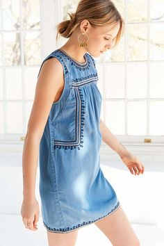 2d890acae1f Ecote Embroidered Tencel Shift Dress - Urban Outfitters Sleeveless  Chambray