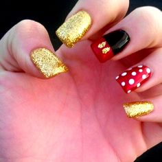 Mickey Mouse!! Love these nails! Great to wear when going to Disney!!