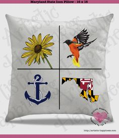 "An exclusive MD design!  Maryland Pillow and Insert – 16"" x 16""  This is an original design.  This is created with ink, not vinyl. It's permanently placed on the pillow with a commercial heat press.  The cover has a zipper on the bottom. Pillow insert and pillow cover are both purchased with this listing. Toss this pillow on a bed, chair, or wherever!  So soft, this pillow cover is called Peach Skin. Not for the color, but for the feel. It is soft, but, not fluffy and furry."