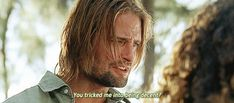 "one of my favorite Sawyer quotes...""You tricked me into being decent?""  Good job, Hurley!"