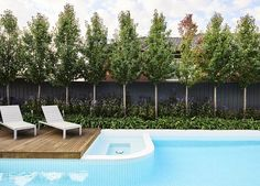 Small and Best Backyard pool landscaping ideas OFTB Melbourne landscaping, pool design & construction project - Modern ceramic tiled swimming pool in contempory styled landscape