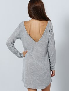 Robe dos en V manche longue -gris-French SheIn(Sheinside)