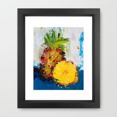 The Lone Pineapple - Original abstract impressionist painting Framed Art Print by ebuchmann - $35.00