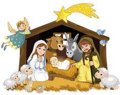 Portal de Belén algo infantil rodeado de pajaritos y ovejitas, en formato vectorial e imagen normal. Descarga gratis