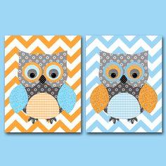 Owl Wall Decor Owl Decor Owl Nursery Art for Children Kids Wall Art Baby Boy Room Baby Boy Nursery Print Baby Nursery Decor set of 2 11x14 by artbynataera on Etsy