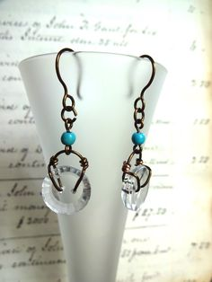 Clear Glass Vintage Button Earrings, Copper Wire, Turquoise Bead Accent, Handmade Ear Wires