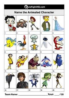 A great picture round for kids and adults alike. An eclectic assortment of well-known animated characters. The perfect challenge for your next trivia event. Quiz Questions And Answers, Trivia Questions, This Or That Questions, Family Quiz, Family Games, Picses Facts, Disney Character Quiz, World Quiz, Games