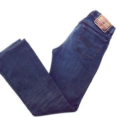 """Diesel Fanker Style Bootcut Jeans Size 30 These jeans are bootcut, mid-rise in a medium wash. The color is best shown in the 2nd picture. The waist measures 16"""" across and the inseam is 31"""". The front pockets have been modified (see picture). Diesel Jeans Boot Cut"""