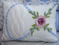 Chenille Pillow Vintage Bedspread Fabric by Sassycatcreations