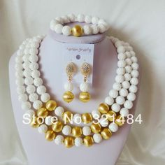 Fashion Nigerian African Wedding Beads Jewelry Set  White Tridacna Necklaces Bracelet Clip Earrings TSS-025 $88.28