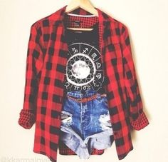 Shirt: checkered red shorts jean shorts denim top jacket t- Tumblr Outfits, Grunge Outfits, Mode Outfits, Grunge Fashion, Casual Outfits, Hipster Outfits, Daily Fashion, Teen Fashion, Fashion Outfits