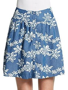 Wells Grace Marie Printed Chambray Skirt - Blue - Size L