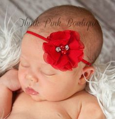 Deal of the Day 12/13 $2.95 Red Baby Headband, Christmas Headband, Valentines Headband, Newborn Headband, White Baby Headbands, Baby Girl Headband, CHOOSE  your color!