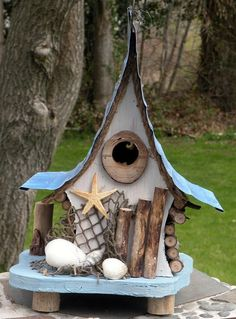 Nautical birdhouse, functional birdhouse, beach art, garden art, unique and whimsical, in color options by adventureoriginals on Etsy