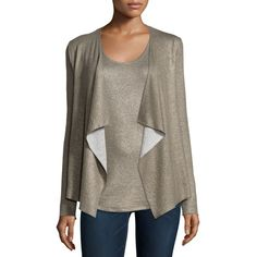 NM Luxury Essentials Cotton/Cashmere Double-Face Metallic Cardigan ($285) ❤ liked on Polyvore