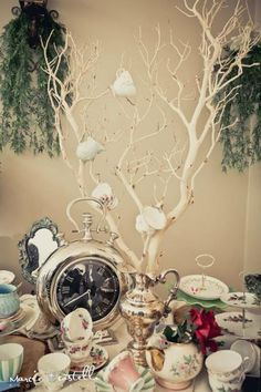 table centerpiece, branches with teacups