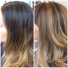 Before and after #flamboyage #caramel highlights on a #brunette base for a #sombre look