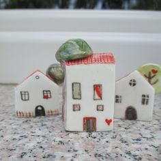 This Ceramic House is part of TatjanaCeramics design and is all hand made. Being handmade each and every item is unique and one of a kind. It is