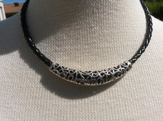 Rocking black leather necklace for her by IMKdesign on Etsy, $24.00