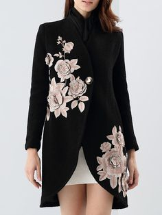 Shop Coats - Elegant Long Sleeve Floral-embroidered Coat online. Discover unique designers fashion at StyleWe.com.