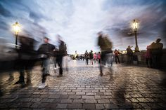 Chaotic People on Charles Bridge in Prague Free Image Download