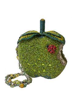 1920's style green an apple a day beaded handbag