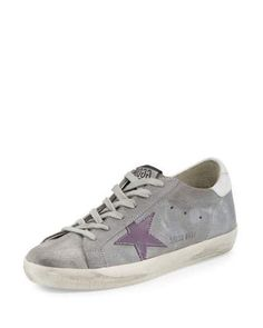 GOLDEN GOOSE Superstar Embroidered Low-Top Sneaker, Ash Gray. #goldengoose #shoes #