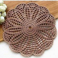 A) 25 Beginner Knitting Projects Knitting can be intimidating if you've never done it before, but th Crochet Table Mat, Crochet Placemats, Crochet Doilies, Crochet Flowers, Crochet Stitches, Crochet Mandala Pattern, Crochet Squares, Crochet Patterns, Beginner Knitting Projects