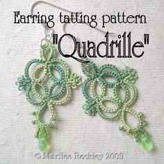 Needle Tatting Instructions | TATTING PATTERN QUADRILLE tatted earring pattern by yarnplayer