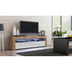 Milano Classic Modern 16 color 63-inch TV Stand | Overstock.com Shopping - The Best Deals on Entertainment Centers - Gray/Wavy Black Living Room Storage, Living Room Furniture, Storage Spaces, Low Profile Tv Stand, Contemporary Tv Stands, Led Tv Stand, Black Tv Stand, Wall Mount Electric Fireplace, Mounted Fireplace