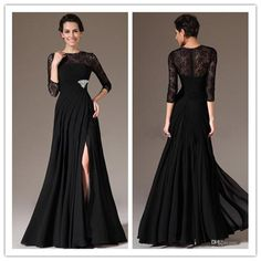 Mother Of The Bride Dresses Atlanta Sexy Black Crew Neck Long Mother Of The Bride Dresses A Line Zipper 3/4 Long Sleeve Floor Length Side Slit Beads Formal Evening Dress 2015 Mother Of The Bride Dresses Sydney From Bridalmall1990, $115.92| Dhgate.Com