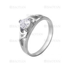 anillo con cristal de plateado en acero inoxidable-SSRGG271916