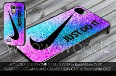 Nike Just Do It Pink Blue Purple Glitter Design for iPhone 4/4s/5/5c/5s, Samsung Galaxy S3, Samsung Galaxy S4 Case