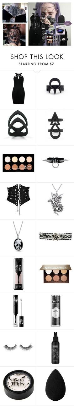 """Abigal~Motionless In White"" by headbangingunicorn ❤ liked on Polyvore featuring The Rogue + The Wolf, Rune NYC, NYX, Carolina Glamour Collection, Bling Jewelry, Kat Von D, Anastasia Beverly Hills and beautyblender"
