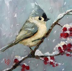 """Daily Paintworks - """"Blue titmouse in the Snow"""" - Original Fine Art for Sale - © Krista Eaton"""
